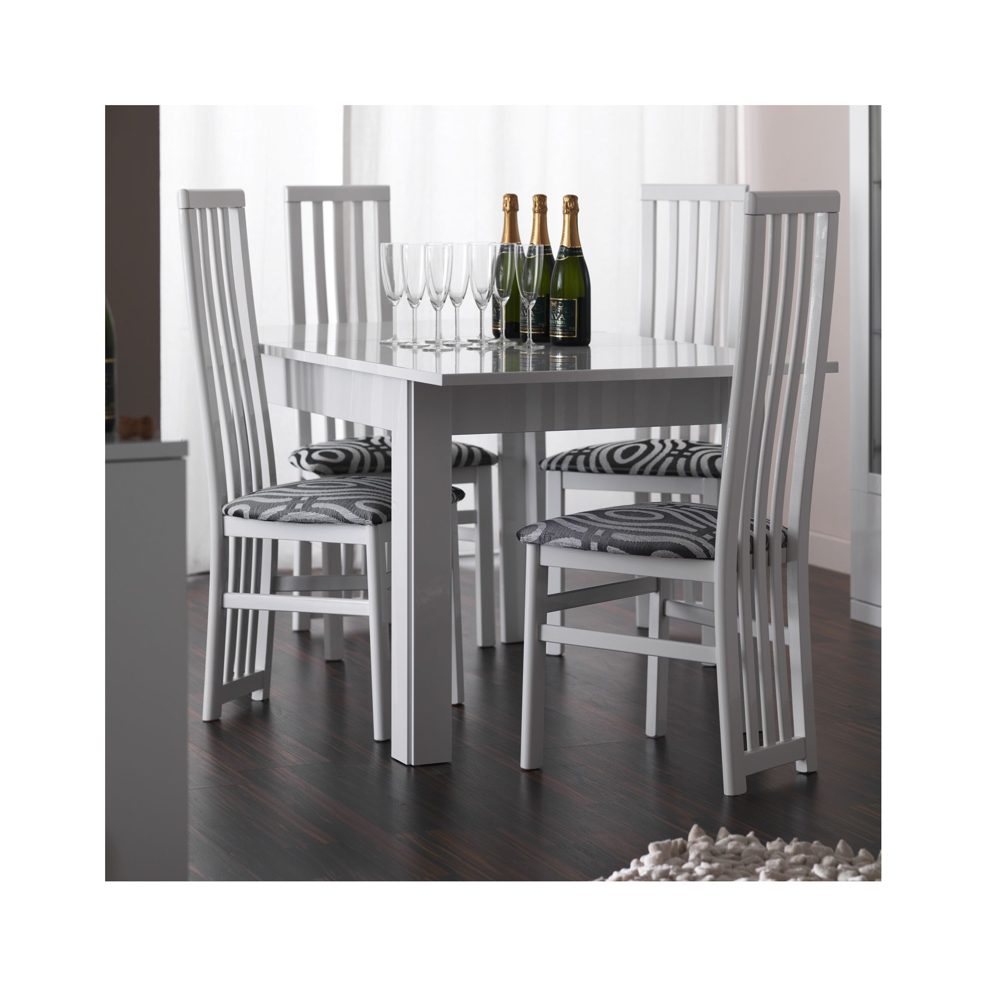 Caxton Manhattan Table with 4 Dining Chairs in White Gloss at Tesco Direct
