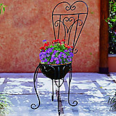 Ashford- Garden Chair Planter With Coco Liner - Black / Brown
