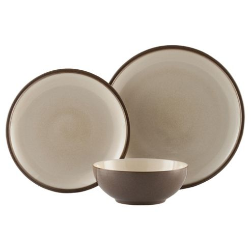 Denby Everyday 12 Piece, 4 Person Dinner Set, Cappuccino