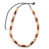 Unisex Light Brown/ Antique White Wood Bead Necklace - 40cm Length