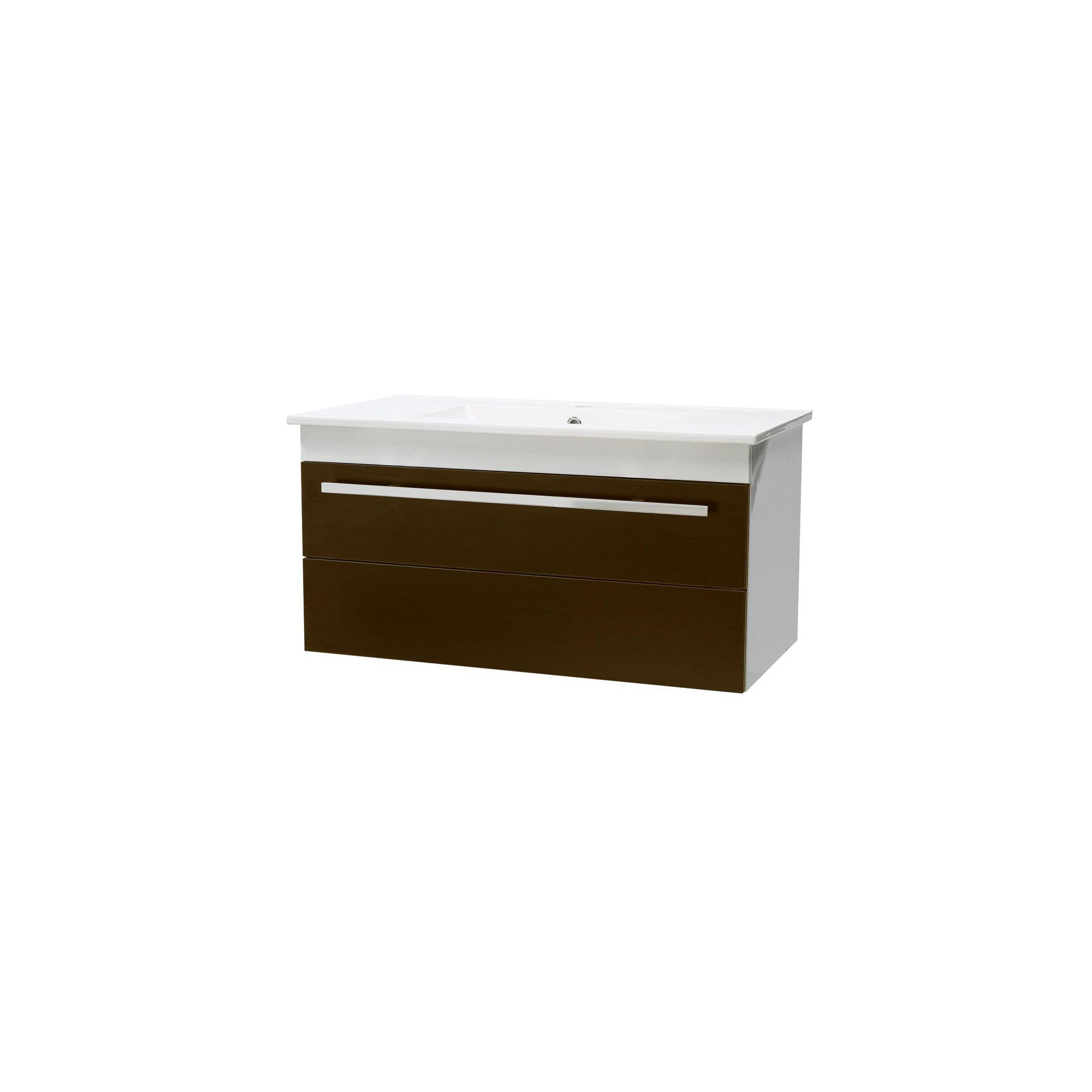 Ultra Design Ebony Brown Wall Mounted Unit with Ceramic Basin 450mm Height x 800mm Width x 400mm Deep