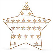 Large Christmas Advent Calendar Star with Numbered Hooks