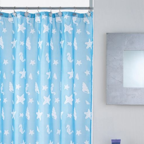 Modern Makeover Shells Shower Curtain with Hooks