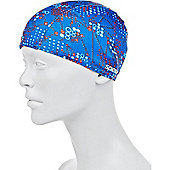Speedo Printed Junior Polyester Swimming Cap - Blue
