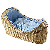 Isabella Alicia Natural Izzy-Pod Moses Basket (Dimple Blue)