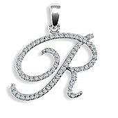 9ct White Gold Diamond Script Initial Identity Pendant - Letter R