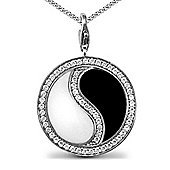 Jewelco London Sterling Silver - Rhodium plated CZ ying yang - Pendant - Unisex