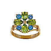 QP Jewellers Blue Topaz & Peridot Rafflesia Ring in 14K Gold