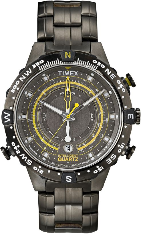 Timex Intelligent Quartz Mens Ion-plated Stainless Steel Compass Watch T2P139