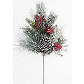 48cm Spray with Flocked Mixed Needles, Red Baubles & Berries