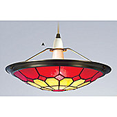 Loxton Lighting Bistro Tiffany Uplighter in Beige and Red - 30 cm
