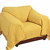 Homescapes Nirvana Slub Cotton Ochre Yellow Throw, 225 x 255 cm