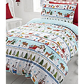 White Christmas, Festive Single Bedding in 100% Brushed Cotton
