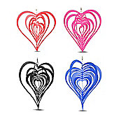 Set of Four Various Coloured Heart Shaped Steel Windspinners For The Garden