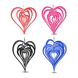 Set of Four Coloured Heart Shaped Windspinners for Home or Garden