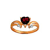 QP Jewellers Diamond & Garnet Affection Heart Ring in 14K Rose Gold