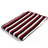 Baroo Striped Knitted Pram Blanket (Black, Red and White)