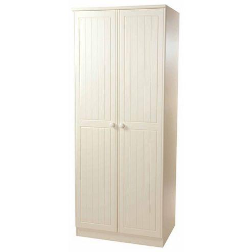 Welcome Furniture Warwick Tall Plain Wardrobe - Cream with Oak Finishing