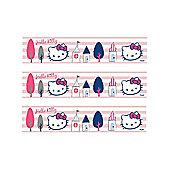 Hello Kitty Pink and White Stripe Self Adhesive Wallpaper Border 5m