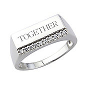 Sterling Silver Cubic Zirconia Set Gents Ring. Message: Together