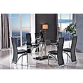 Roma Black Glass and Stainless Steel Frame 150 cm Dining Table with 6 Black Alisa Chairs