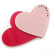 Deep Pink/ Baby Pink Austrian Crystal Double Heart Acrylic Brooch - 70mm Across