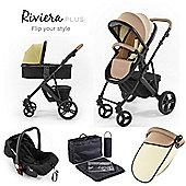 Riviera Plus 3 in 1 Black Travel System - Taupe / Pistachio