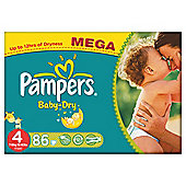 Pampers Baby Dry Size 4 Mega Pack - 86 nappies