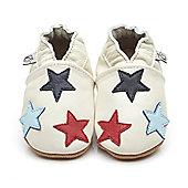 Olea London Soft Leather Baby Shoes Little Stars Cream - Cream