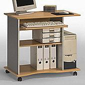 Maja- Möbel Computer Desk with Keyboard Shelf - Silver Lacquer/Beech