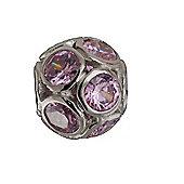 Amore & Baci Precious Zirconia Multi Bezel Bead - Pink