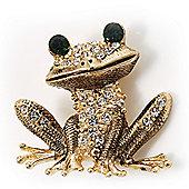 Gold Crystal Frog Brooch