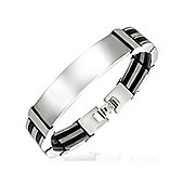 Urban Male Black & Silver Finish Stainless Steel Men's ID Bracelet