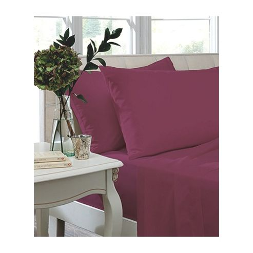 Catherine Lansfield Home Non Iron Percale Combed Polycotton Double Bed Fitted Sheet MAGENTA