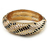 Gold Plated Animal Pattern Hinged Bangle Bracelet (Black & White)