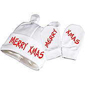 Spoilt Rotten - Merry Xmas Baby Knot Hat & Scratch Mittens Christmas Baby Gift