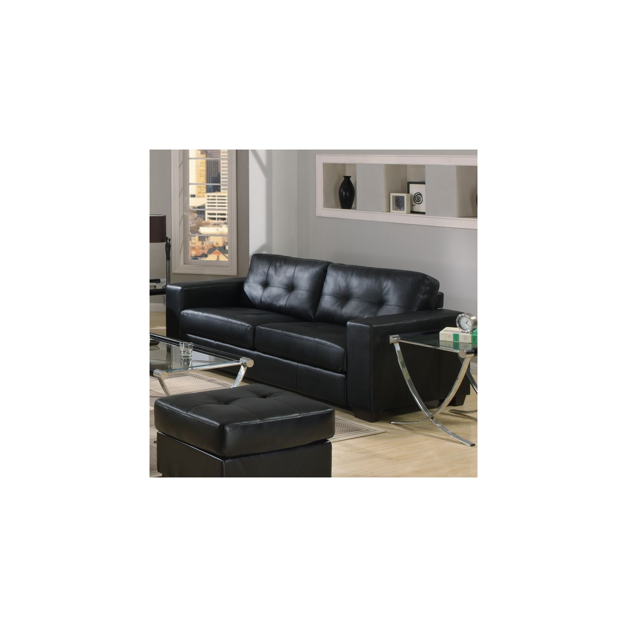 Furniture Link Gemona 3 Seater Sofa - Black at Tesco Direct