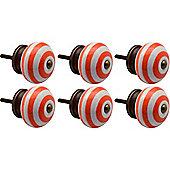 Nicola Spring Ceramic Cupboard Drawer Knobs - Stripe Design - Orange - Pack Of 6