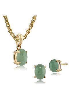 Gemondo 9ct Yellow Gold Jade Single Stone 4 Claw Set Stud Earring & 45cm Necklace Set