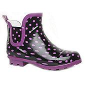 Brantano Teen Girls Ankle Spot Teen Black Purple Ankle Boot Welly Wellington Winter Boots - Black