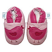 Dotty Fish Soft Leather Baby Shoe - Pink Bird - 0-6 mths