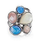 Shimla Ladies Blue Agate & Pink/White Shell Ring - SH-210ML