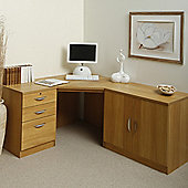 Enduro Home Office Corner Desk / Workstation with Pedestal and Cupboard - Walnut