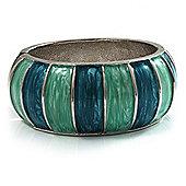 Segmental Wide Enamel Hinged Bangle (Light Blue & Light Green)