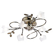 Endon Lighting Six Light Ceiling Fitting in Antique Brass