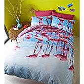 Catherine Lansfield Flamingo Single Bed Photographic Quilt Set Multi Coloured