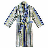 Homescapes Christy Cotton Bathrobe Grey, Green and Blue Pinstripe - S