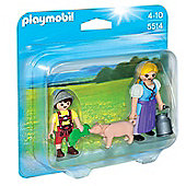 Playmobil Country Woman and Boy Duo Pack - Dolls and Playsets