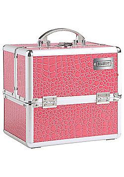 Beautify Small Pink Crocodile Print Beauty Cosmetics Make Up Case