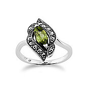 Gemondo Sterling Silver 0.52ct Peridot & 0.19ct Marcasite Art Nouveau Style Ring